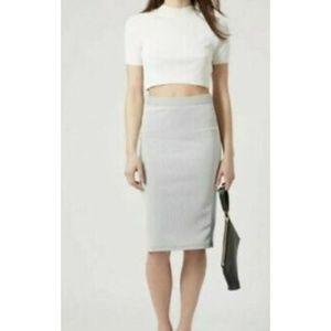 Topshop 6 Small Ribbed Pencil Skirt Knee Zip Gray